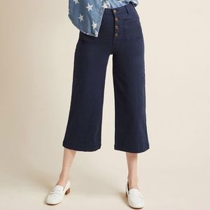 ModCloth Wide-Leg Navy Culottes with Pockets in M